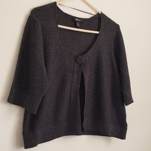 Grey Sparkly Knit Cape with Button